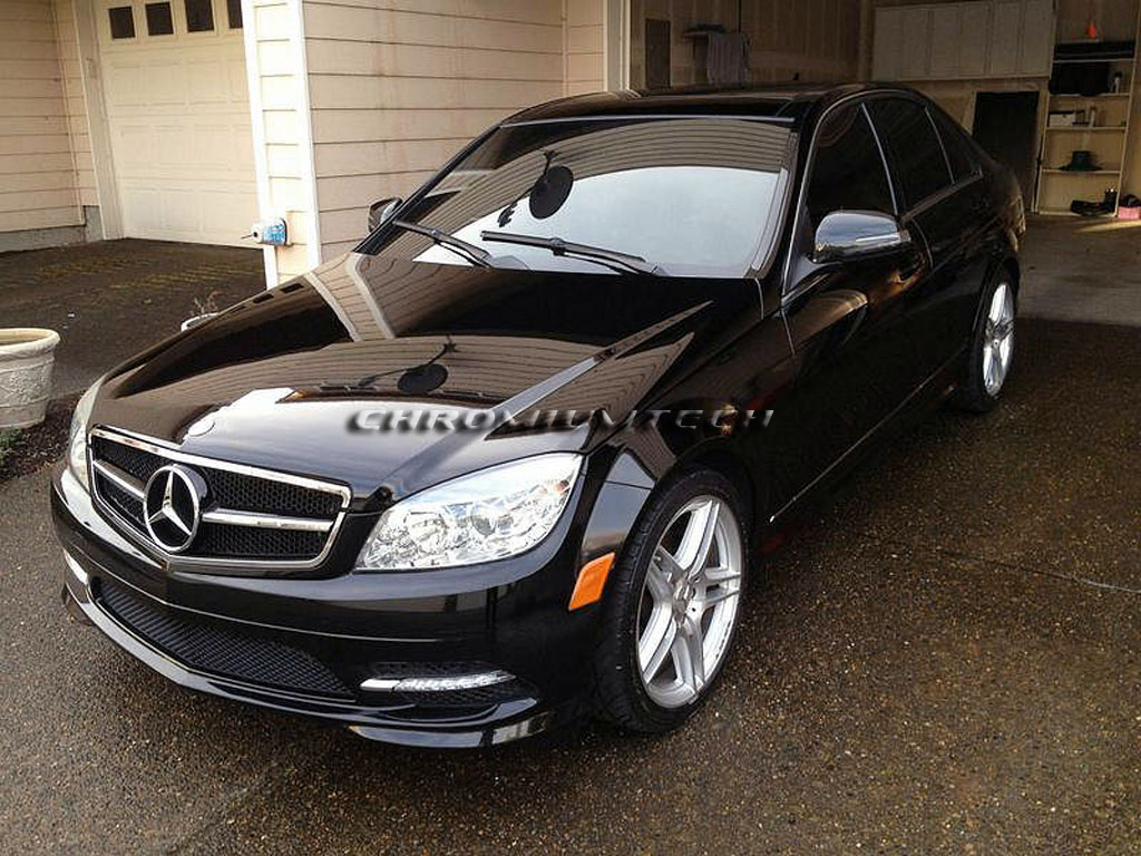black chrome amg c63 style grill for mercedes w204 c class. Black Bedroom Furniture Sets. Home Design Ideas