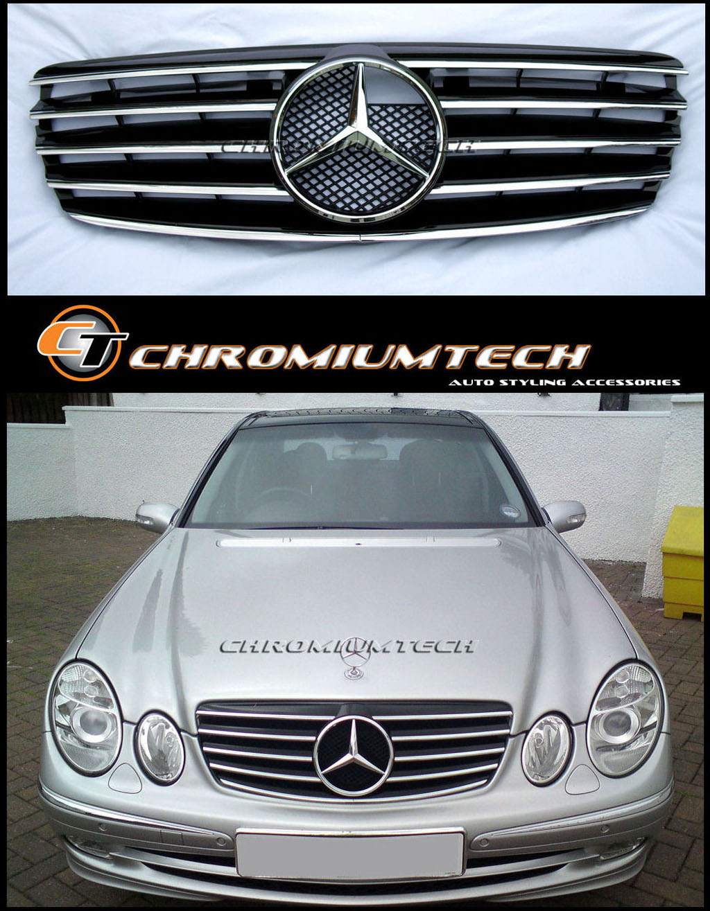 02 06 Mercedes W211 E Class Black Chrome Sports Grill Amg