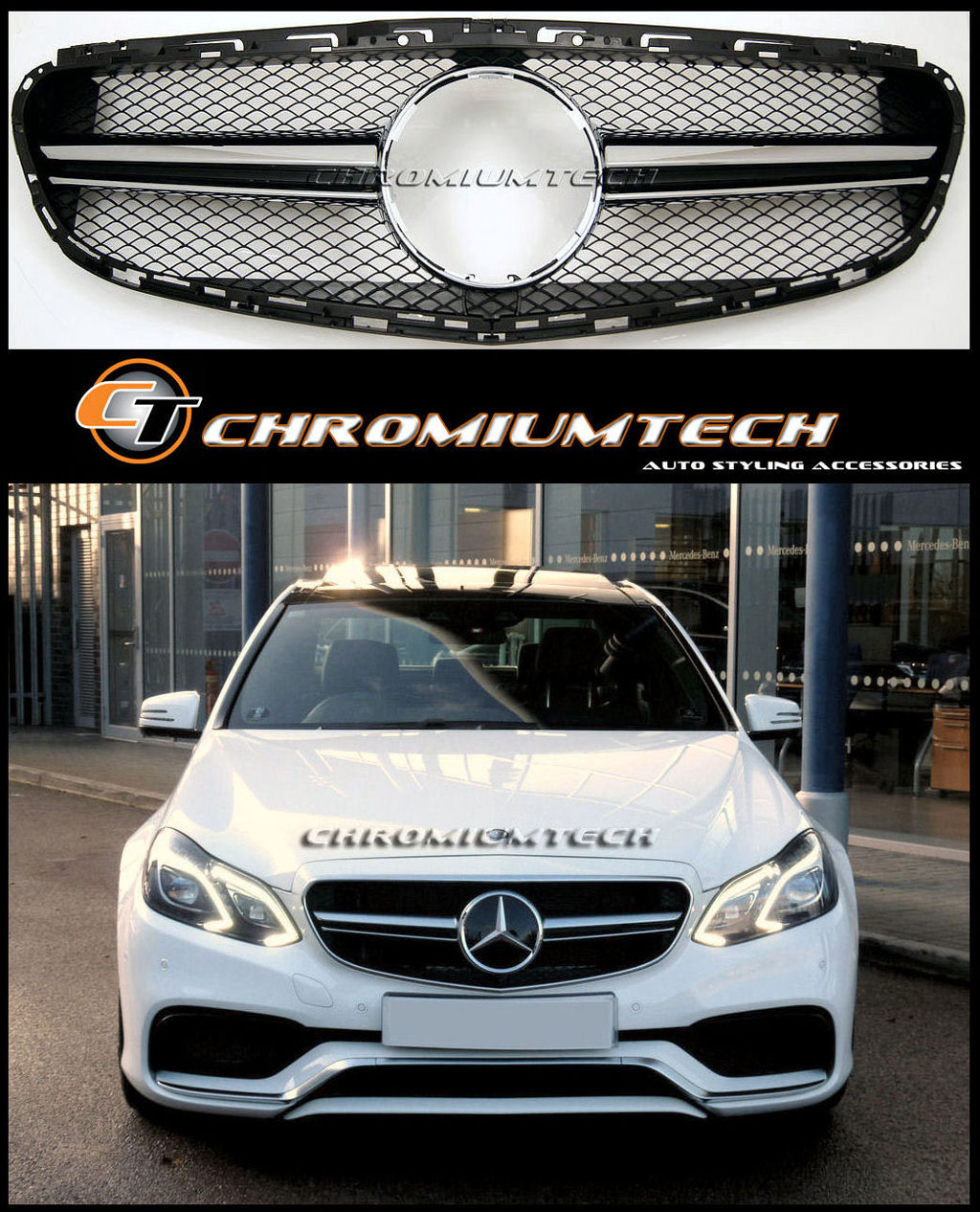 amg e63 style black chrome grill for 2014up mercedes e. Black Bedroom Furniture Sets. Home Design Ideas