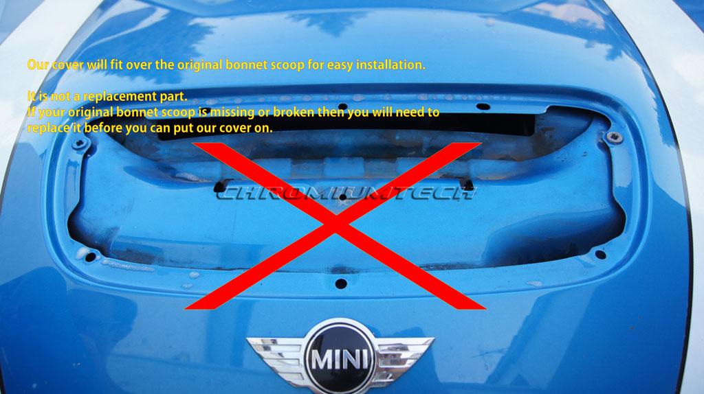 MK1 BMW MINI Cooper S JCW R52 R53 BLACK Bonnet Hood Air Intake Scoop Cover