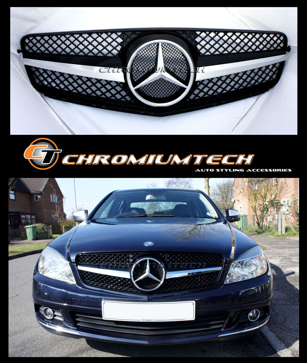 Black chrome sports 1 fin grille for mercedes w204 c class for Mercedes benz c300 grill