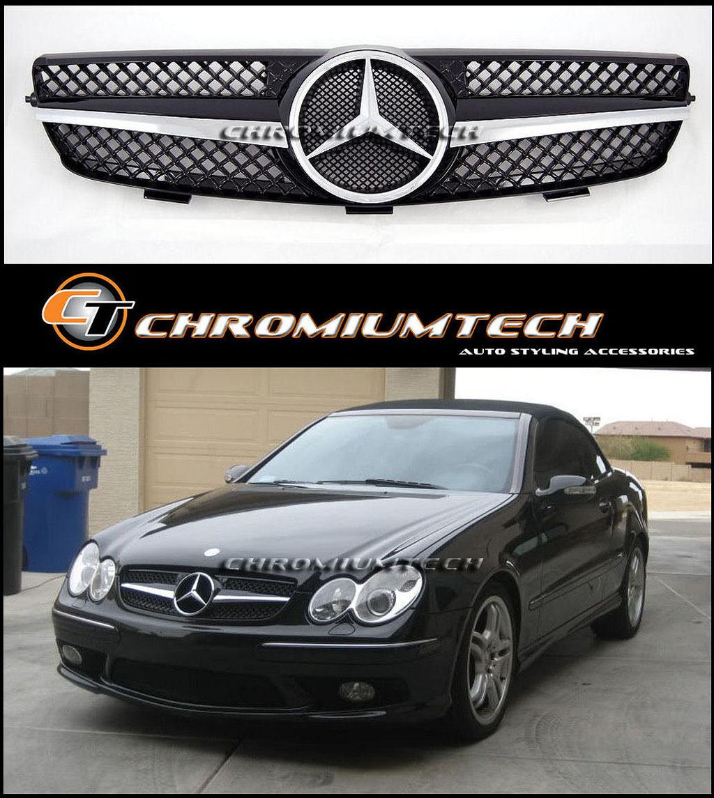 03 09 mercedes w209 clk blk chrome grill clk270 clk320 for Mercedes benz custom grills