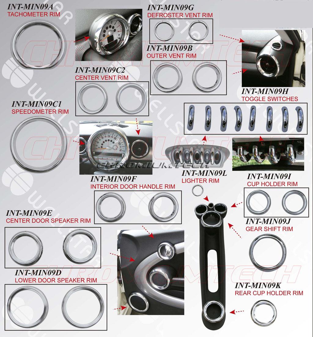 BMW MINI R55-R56-R57-R58-R59 Lower Door Speaker surrounds Cooper//S//One /& Clubman