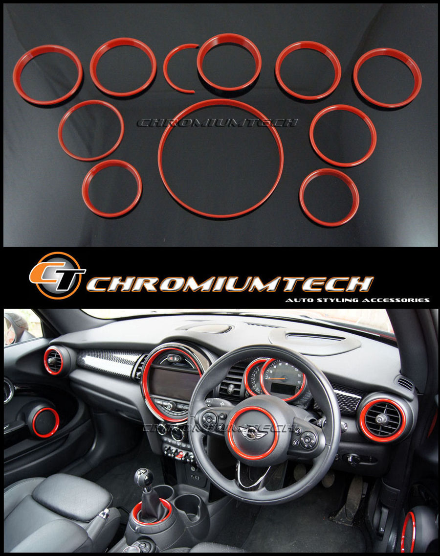 MINI Cooper/S/ONE F55 F56 F57 RED Interior Rings Kit for models w ...